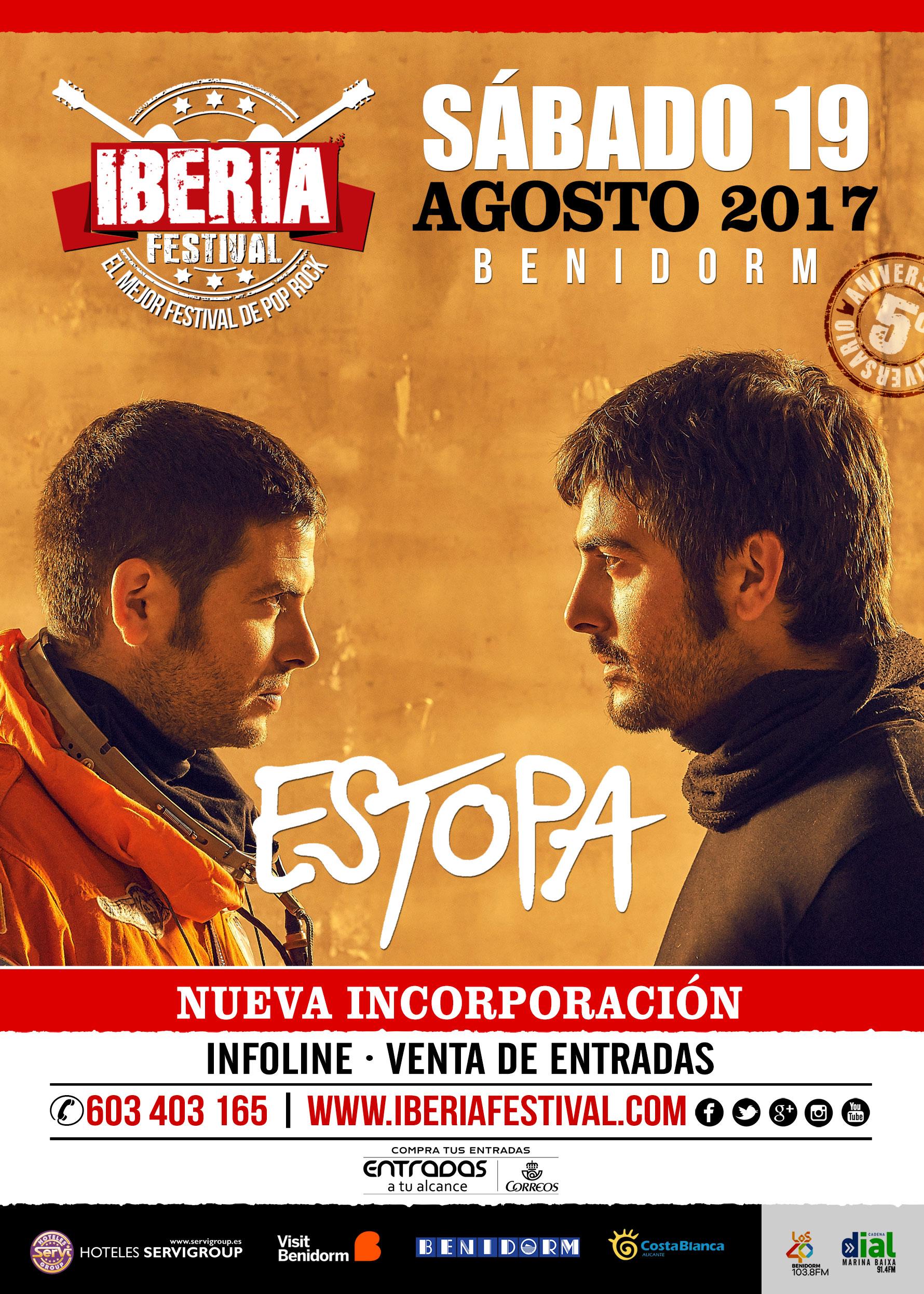 Confirmación. Estopa en Iberia Festival-Benidorm 2017